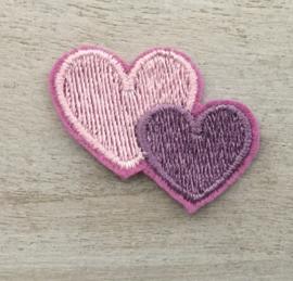 2 harten  roze /paars
