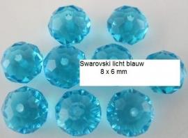 Swarovski Blauw   8 x 6 mm 10 voor € 2,50