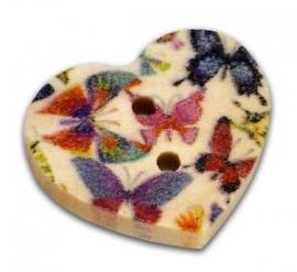Houten hart met vlinders