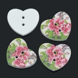 Hart met roze bloem. 17 mm