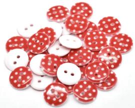 Rood met witte stip. 15 mm