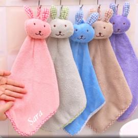 Kinder handdoek met naam Blauw