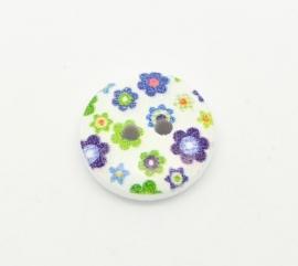 Hout knoopje met bloemetjes blauw groen per stuk € 0,09