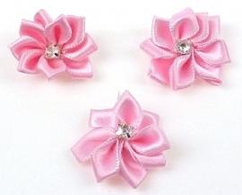4. Bloemen Roze met strass 27 mm