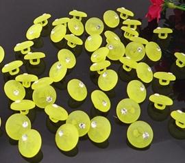 Fel geel met bloem en steentje € 0.10