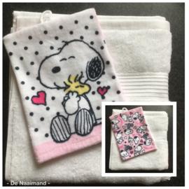 Handdoek met naam en Snoopy washandje