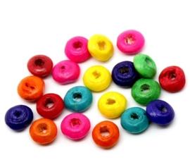 Houten kraal verschillende kleuren 6 mm 100 voor