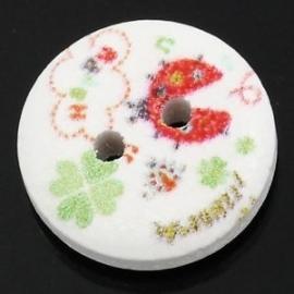 Houten knoopje met lieveheersbeestje 12 mm per stuk € 0,10