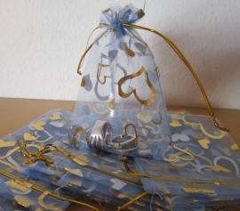 Blauw - lichtblauw met goud en zilveren hartjes