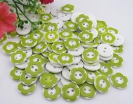 Groen wit bloemetje 12 mm per stuk € 0,12