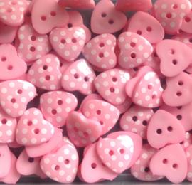 Hartje roze met witte stip. 15 mm