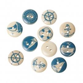 Zeevaartknoopjes 15 mm.   5 voor