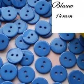 Blauw ronde knoop 14 mm