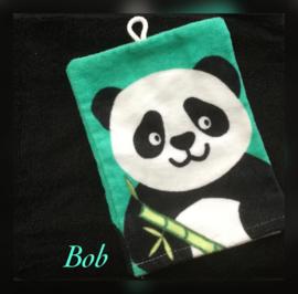 Handdoek met naam en panda washandje