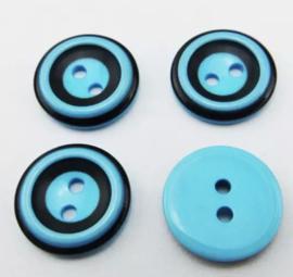 Turquoise met zwart 15 mm