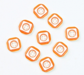 Oranje wit knoopje  12 mm