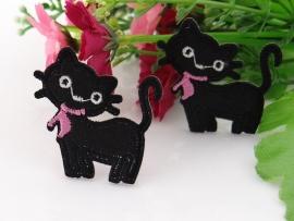 Zwart poesje met roze strik per stuk € 0,50