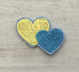 2 harten geel / blauw