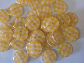Geel met wit ruitje 13 mm per stuk € 0,12