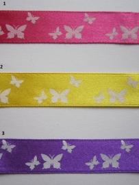 Satijnband met witte vlinders 1.5 mtr. € 0,75
