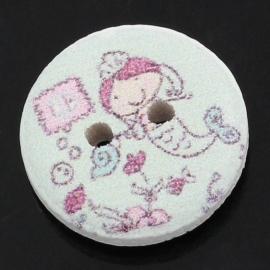 Hout knoopje met zeemeermin. 15 mm per stuk € 0,10