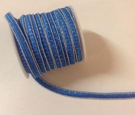 Blauw met zilverdraad per meter € 0,25
