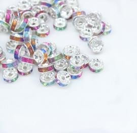 Zilver / Mix. 8 mm.  10 voor