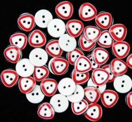 Wit/rood/zwart 13 mm