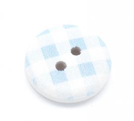 Blauw wit ruitje hout knoopje. 15 mm. Per stuk € 0,10