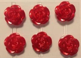 Rode bloemetjes 6 stuks