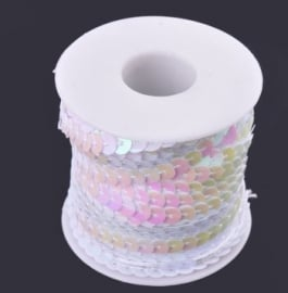Pailettenband  Wit 6 mm per meter € 0,40