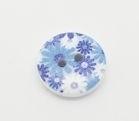 Hout knoopje blauw bloemetje  15 mm per stuk € 0,08