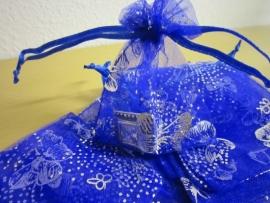 Blauw met zilveren vlinders