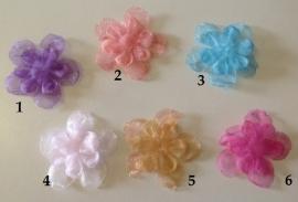 Organzabloem in 3 delen  ( 6 verschillende kleuren )