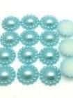 Blauwe parel met rand. 13 mm   10 voor