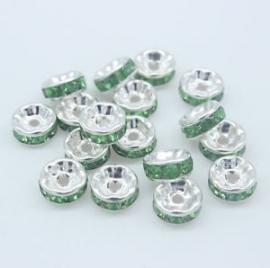 Zilver / Groen.   8 mm. 10 voor