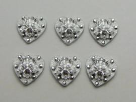 Zilver met glitter.  12 mm. Hart 10 voor