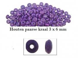 Ovalen houten paarse kraal 3 x 6 mm
