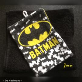 Handdoek met naam en Batman washandje