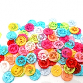 Doorzichtig met bloemen  14 mm. 5 voor € 0,50