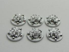 Zilver met glitter. 12 mm. Rond