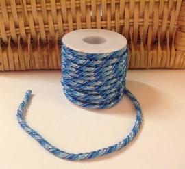 Gedraaid Elastisch koord  Blauw  6 mm /   50 cm voor
