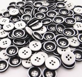 Zwart wit grijs 12 mm