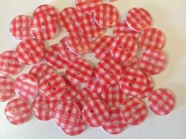 Rood wit ruitje 13 mm per stuk € 0,12