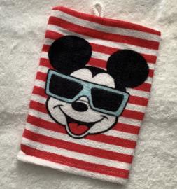 Handdoek met naam en washandje Mickey