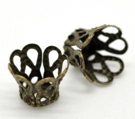Brons bloemenkap 6 x 5 mm 20 stuks