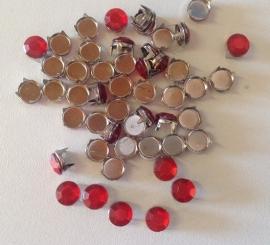Rode steen  8 mm  10 voor € 1,00