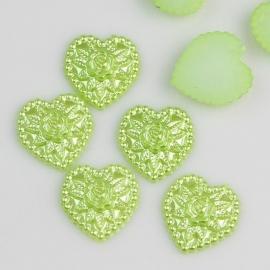 Hart groen met roos  18 mm,10 voor