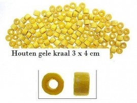 Gele houten kraal 75 voor €1,00