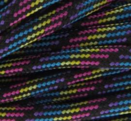 Zwart / roze / aqua / paars / geel